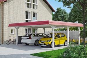 SKAN HOLZ Carport Wendland 630 x 637 cm mit Aluminiumdach, rote Blende, weiß