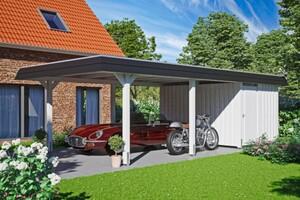 SKAN HOLZ Carport Wendland 409 x 870 cm mit Abstellraum, mit Aluminiumdach, schwarze Blende, weiß