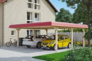 SKAN HOLZ Carport Wendland 630 x 637 cm mit Aluminiumdach, rote Blende
