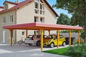 SKAN HOLZ Carport Wendland 630 x 879 cm mit Aluminiumdach, rote Blende, eiche hell