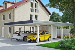SKAN HOLZ Carport Wendland 630 x 879 cm mit Abstellraum, mit EPDM-Dach, schwarze Blende, weiß