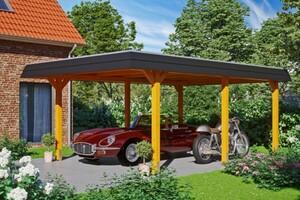 SKAN HOLZ Carport Wendland 409 x 628 cm mit Aluminiumdach, schwarze Blende, eiche hell