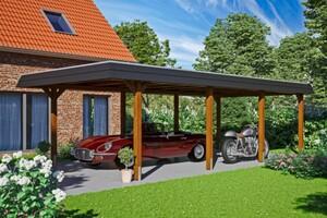 SKAN HOLZ Carport Wendland 409 x 870 cm mit EPDM-Dach, schwarze Blende, nussbaum