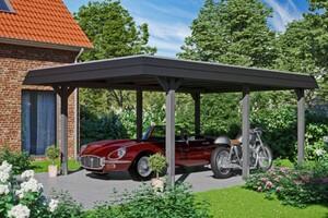 SKAN HOLZ Carport Wendland 409 x 628 cm mit Aluminiumdach, schwarze Blende, schiefergrau