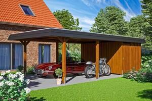 SKAN HOLZ Carport Wendland 409 x 870 cm mit Abstellraum, mit Aluminiumdach, schwarze Blende, nussbaum