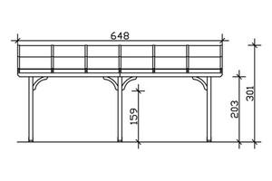 SKAN HOLZ Terrassenüberdachung Venezia Größe 648 x 339 cm, lasiert in nussbaum