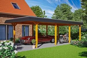 SKAN HOLZ Carport Wendland 409 x 870 cm mit EPDM-Dach, schwarze Blende, eiche hell