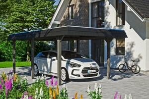 SKAN HOLZ Carport Wendland 362 x 628 cm mit EPDM-Dach, schwarze Blende, schiefergrau