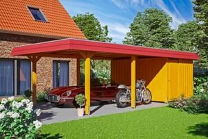 SKAN HOLZ Carport Wendland 409 x 870 cm mit Abstellraum, mit EPDM-Dach, rote Blende, eiche hell