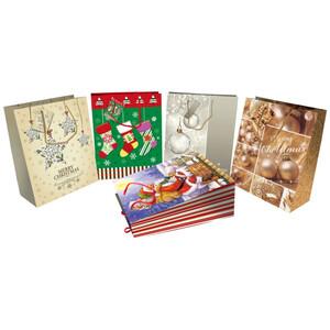 Geschenktasche groß mit Weihnachtsdekor und Kordel