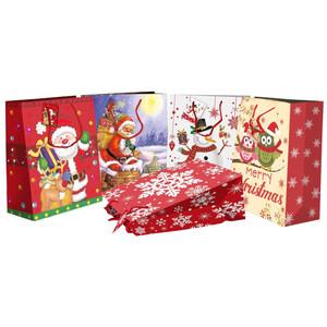 Geschenktasche XXL mit Weihnachtsdekor und Kordel