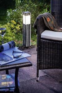 Esotec 102073 Rattan Solar-Gartenleuchte Warmweiß Silber-Grau