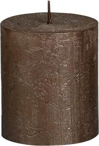 "Bolsius Rustik Stumpenkerze Metallic ""braunes kupfer, Höhe: 8 cm, Ø 6,8 cm"""