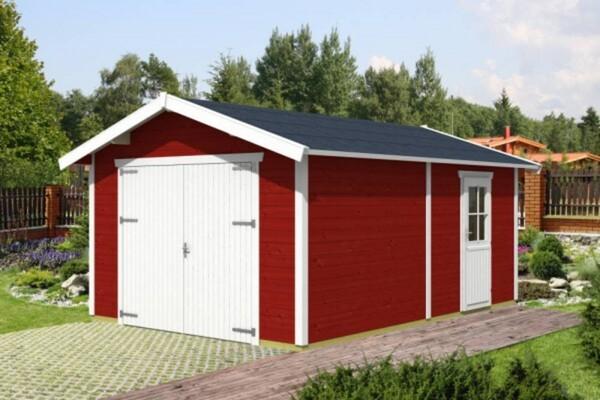 SKAN HOLZ Holzgarage Visby Größe 1, 370 x 525 cm, Wandstärke 28 mm