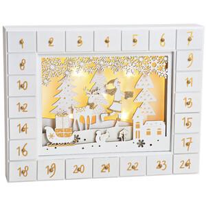 Adventskalender zum Befüllen aus Holz mit LED Beleuchtung, Weiß-Gold