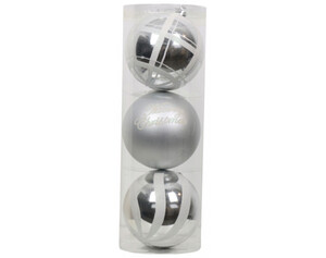 Weihnachtskugeln-Set 3 tlg. silber/weiß