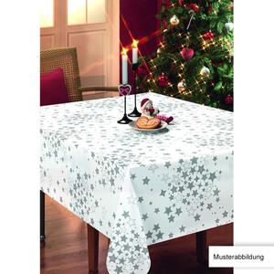 Casa Royale Wachstuch-Tischdecke, ca. 100 x 140 cm - Sterne Silber/Weiß
