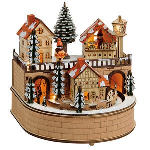 Weihnachts-Spieluhr mit LED-Beleuchtung aus Holz