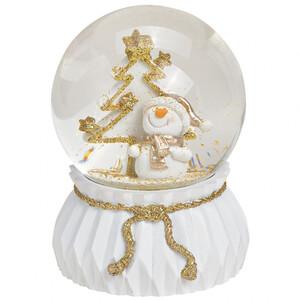 Weihnachts-Spieluhr Glitterkugel Schneemann in weiß - gold