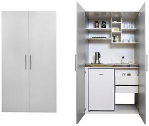Schrankküche in Silbergrau mit Glaskeramikkochfeld