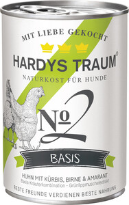 Hardys Traum Basis No2 Huhn mit Kürbis, Birne & Amarant Hundefutter nass 400 g