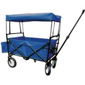 Bieco faltbarer Bollerwagen mit Regenschutz blau