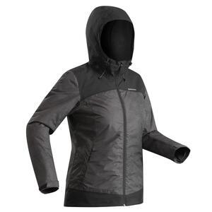 Winterjacke Winterwandern SH100 X-Warm wasserdicht Damen schwarz