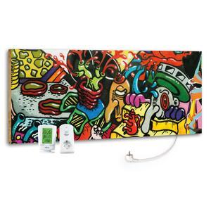 Infrarot-Heizpaneel Graffiti mit Thermostat