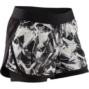 Shorts kurz 2-in-1 atmungsaktiv W500 Gym Kinder schwarz mit Print