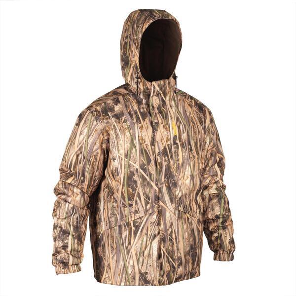 Jagdjacke warm winddicht 100 Camouflage Schilf