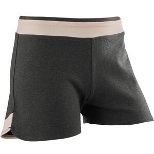 Shorts kurz 500 Gym Baumwolle atmungsaktiv Kinder grau mit Print