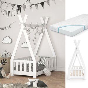 VITALISPA Kinderbett TIPI Indianer Kinderhaus Hausbett 70x140cm Weiß Matratze