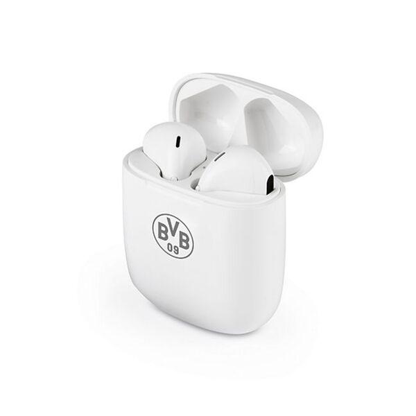 BVB Kopfhörer In-Ear Bluetooth 5V weiß/grau mit Logo