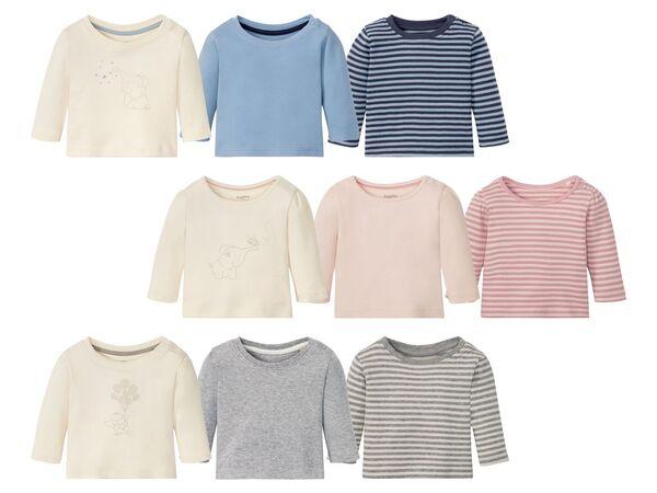 LUPILU® Baby Langarmshirts, 3 Stück, aus reine Baumwolle