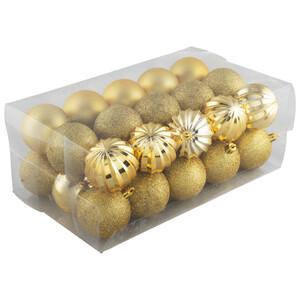 Weihnachtskugel Set 30-teilig gold aus Kunststoff