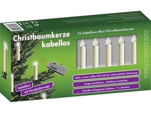 """Christbaumkerzen Set, 12er Mini """"mit Fernbedienung, elfenbeinfarben"""""""