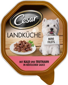 Cesar Landküche mit Kalb und Truthahn in Sauce Hundefutter nass 150 g