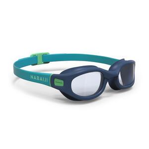 Schwimmbrille 100 Soft Größe L blau/grün Klarsichtgläser