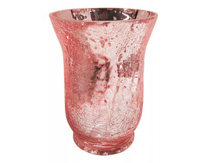 Windlicht Crackle ca.14x14x20cm rosa