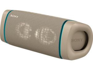 SONY SRS-XB33 tragbar, kabellos, Lautsprecherbeleuchtung, EXTRA BASS Bluetooth Lautsprecher, Beige, Wasserfest