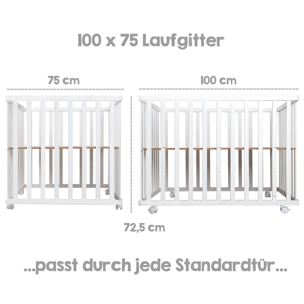 Bild 3 von roba 4-eckiges Laufgitter Style grau, weiß lackiert