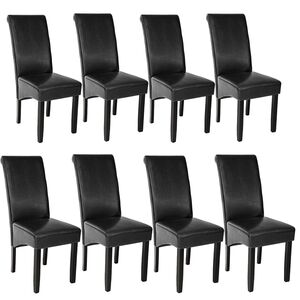 8 Esszimmerstühle, ergonomisch, massives Hartholz schwarz