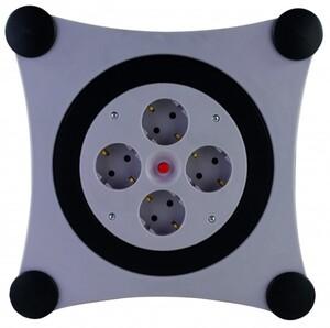 REV Kabelbox 4-fach Schutzkontaktsteckdose H05VV-F 3G1,5 grau schwarz ,