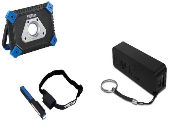 COB-LED AKKU FLUTER mit Powerbank + Arbeits- und Stirnleuchte + Powerbank