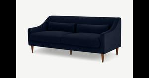 Herton 3-Sitzer Sofa, Samt in Tintenblau - MADE.com