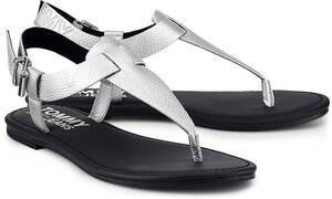 Tommy Jeans, Shiny Metallic Flat in silber, Sandalen für Damen