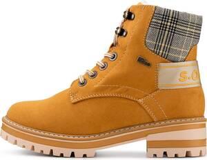 s.Oliver, Schnür-Boots in gelb, Stiefel für Damen