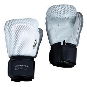 Handschuhe Thaiboxen Leder 500 weiss/silber