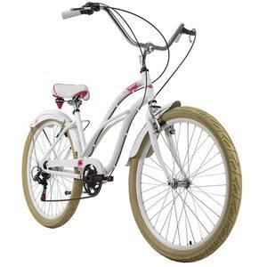 KS Cycling Beachcruiser 26 Zoll Splash 6 Gänge für Damen, Größe: 44, Weiß