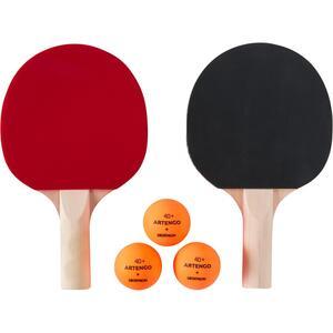 Tischtennis-Set 2 Schläger PPR 100 Small und 3 Bälle